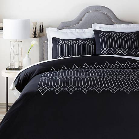 Surya Plaza Black Cotton Duvet Set