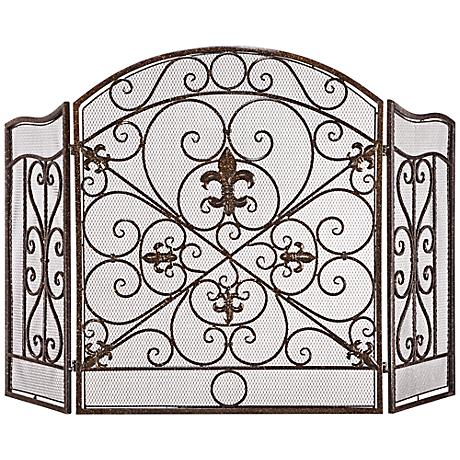 "Parrish 31"" High Bronze 3-Panel Fireplace Screen"