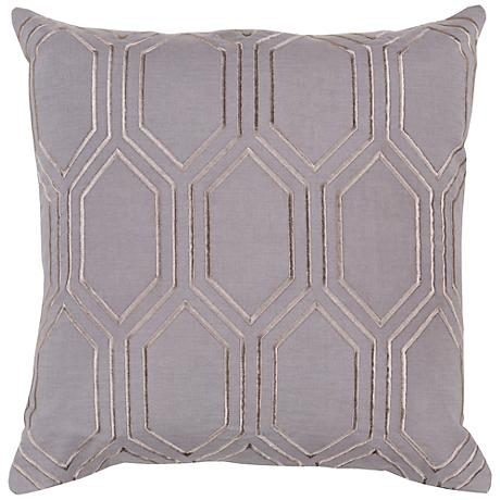 "Surya Skyline Diamond Gray 18"" Square Throw Pillow"
