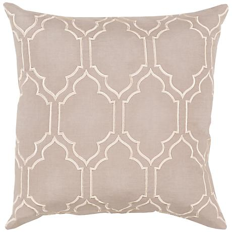 "Surya Skyline Trellis Gray 18"" Square Throw Pillow"