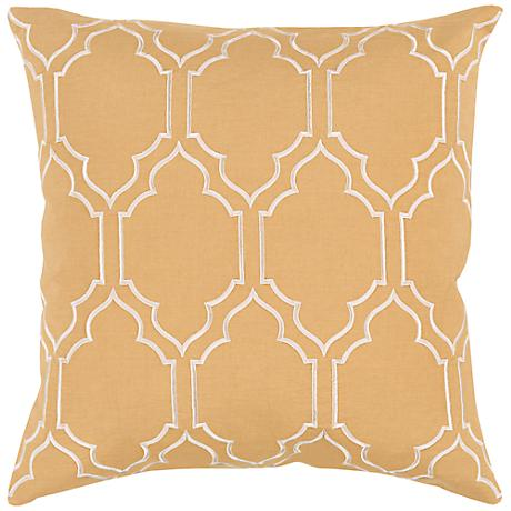 "Surya Skyline Trellis Gold 18"" Square Throw Pillow"