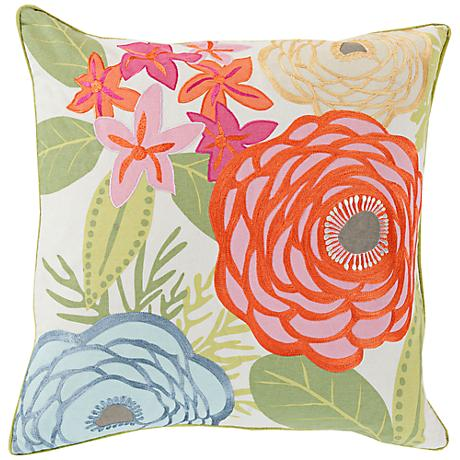 "Surya Flawlessly Floral Multi-Color 18"" Square Throw Pillow"