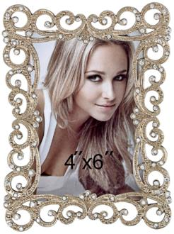 Hinesburg Crystal Swirl 4x6 Jeweled Photo Frame (8K921)