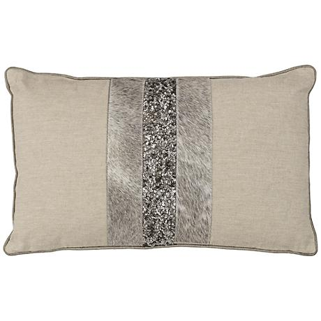 "Multitexture 20"" x 12"" Natural Decorative Pillow"