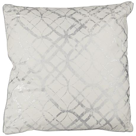 "Silver Metallic Foil Print 20"" Square Decorative Pillow"