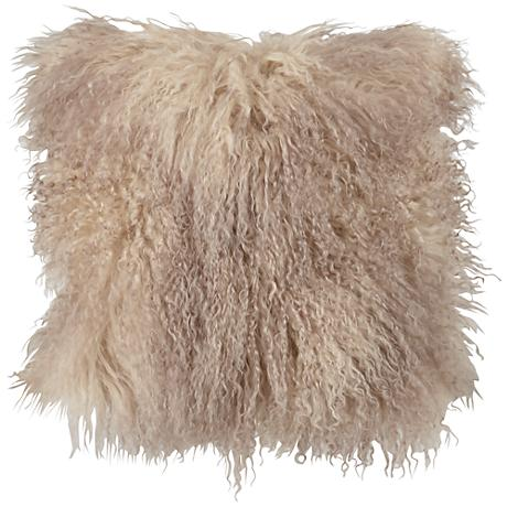 "Oyster Mongolian Lamb Fur 16"" Square Decorative Pillow"