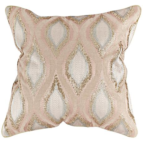 "Bronze Sequin Swirl 20"" Square Throw Pillow"