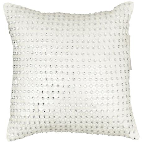 "Shimmering Silver Sequin 12"" Square Throw Pillow"