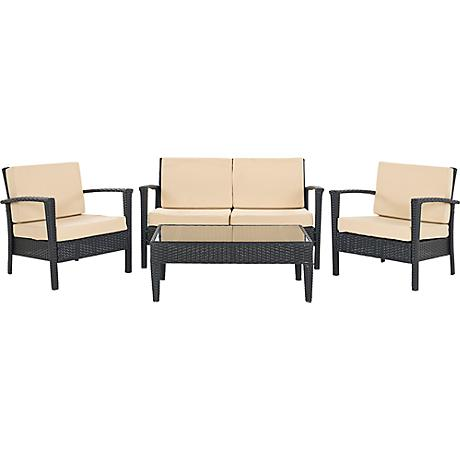 Piscataway Charcoal and Beige Conversation Set
