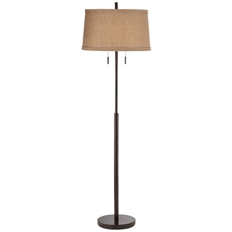 nila ii bronze double pull chain floor lamp 8m615. Black Bedroom Furniture Sets. Home Design Ideas