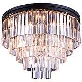 "Sydney 32"" Wide Mocha 5-Tier Clear Crystal Ceiling Light"