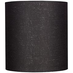 Black Tall Linen Drum Shade 14x14x15 (Spider)