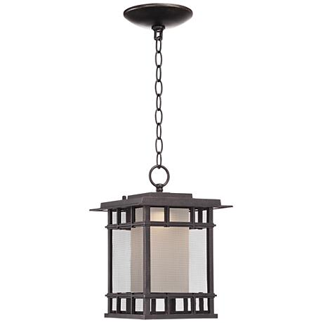 "Screened 13"" High Veranda Bronze LED Outdoor Hanging Light"