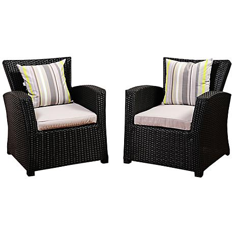 Atlantic Staffordshire Black Wicker Outdoor Armchair Set of 2