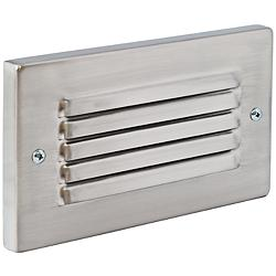 Horizontal Brushed Nickel Louvered LED Step Light