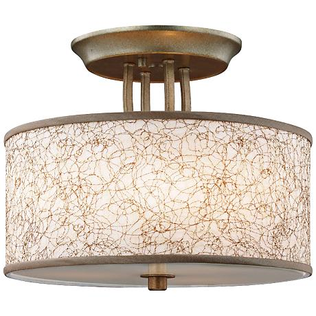"Parchment Park 13 3/4"" Wide Burnished Sliver Ceiling Light"