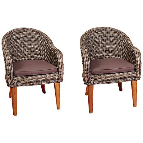 Amazonia Guam Distressed Gray Outdoor Armchair Set of 2