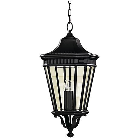 "Feiss Cotswold Lane 12""W Black Outdoor Hanging Light"