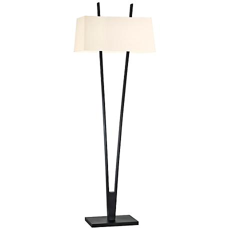 Sonneman V Satin Black Modern Floor Lamp