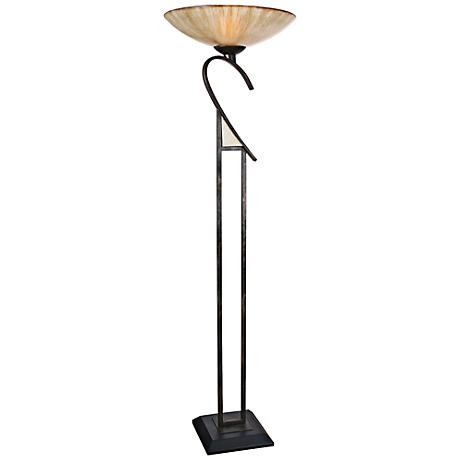 Van Teal Isabella Matte Black Torchiere Floor Lamp