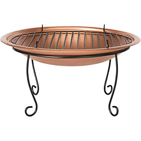 "Cayman 29"" Wide Black Scroll Copper Bowl Fire Pit"