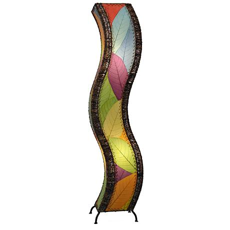 Eangee Wave Multi-Color Cocoa Leaves Large Tower Floor Lamp