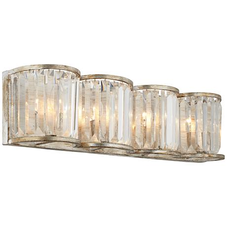 "Soft Silver 4-Light 24"" Wide Crystal Bath Light"