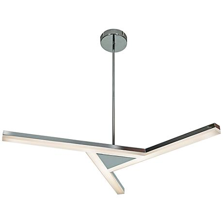 "Aviator 34"" Wide LED Geometric Chrome 3-Light Pendant"
