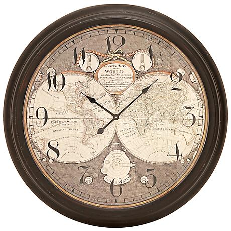 "Etting Bronze Map 37"" Round Wall Clock"