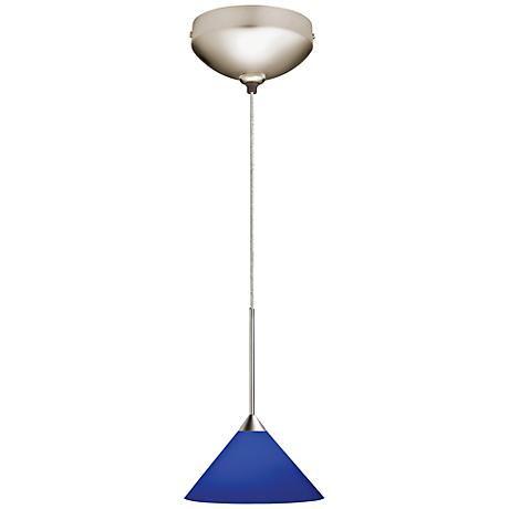 "Juno 5 1/2"" Wide Cobalt Glass Short Cone LED Mini Pendant"