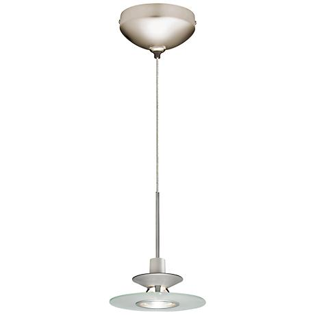 "Juno 6""W Frost Glass Disc Satin Nickel LED Mini Pendant"