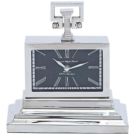 "Deming Nickel Metal 10"" High Rectangular Table Clock"