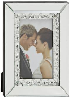"Lamesa Wood Silvertone Mirror 4""x6"" Photo Frame (8P985)"
