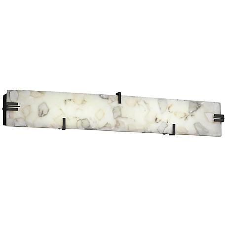 "Clips 36"" Wide LED Alabaster Rocks Bronze Bath Light"