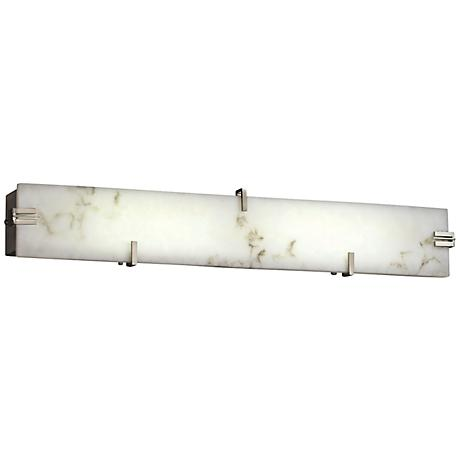 "LumenAria 28 1/4""W LED Faux Alabaster Nickel Bath Light"