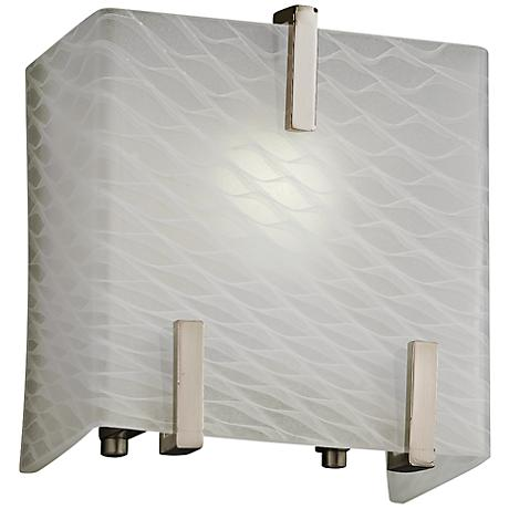 "Clips 6 1/2"" High Weave Glass Brushed Nickel Wall Sconce"