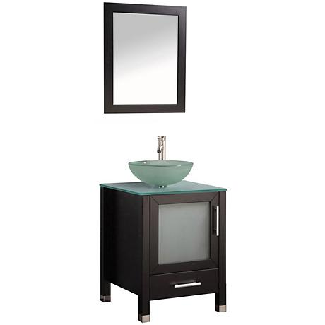 "Cuba 24"" Espresso 1-Sink Bathroom Vanity and Mirror Set"