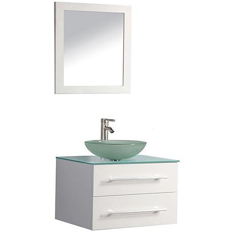 "Cuba 36"" White Wall-Mount 1-Sink Vanity and Mirror Set"