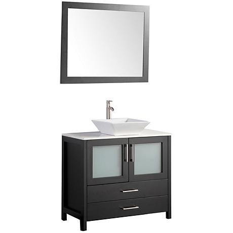 "Jordan 36"" Espresso 2-Door Bathroom Vanity and Mirror Set"