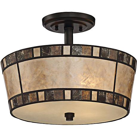 "Quoizel Kingsford 15"" Wide Teco Marrone Ceiling Light"