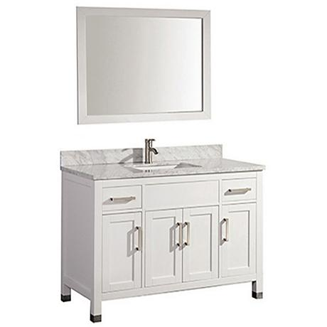 "Ricca 48"" White Single-Sink Bathroom Vanity and Mirror"