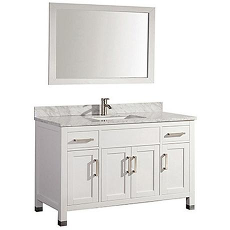 "Ricca 60"" White Single-Sink Bathroom Vanity and Mirror"