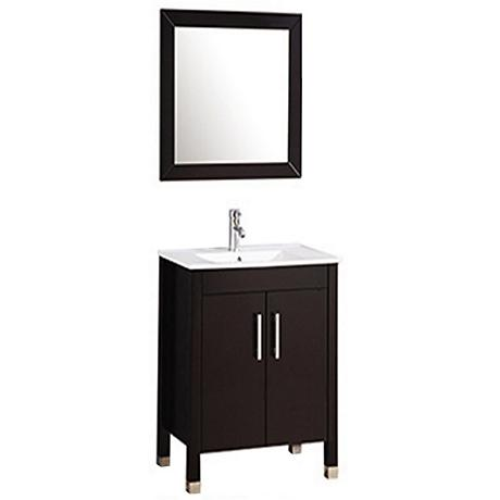 "Monaco 24"" Espresso 2-Door Bathroom Vanity and Mirror Set"