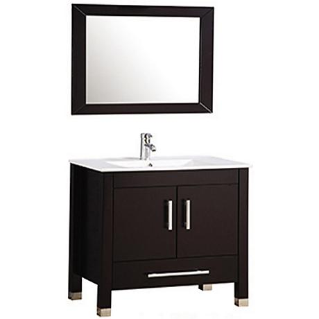 "Monaco 36"" Espresso 2-Door Bathroom Vanity and Mirror Set"