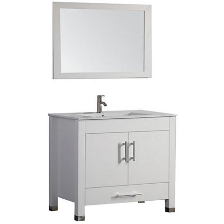 "Monaco 36"" White 2-Door Bathroom Vanity and Mirror Set"