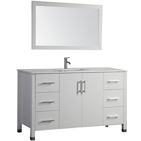 "Monaco 48"" White 6-Drawer Bathroom Vanity and Mirror Set"