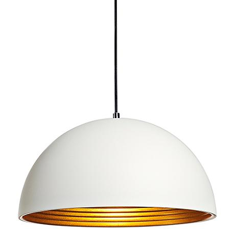 "Forchini 16"" Wide White and Gold Dome Pendant"