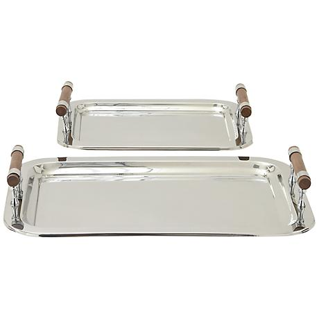 Pini Stainless Steel and Wood Serving Tray Set of 2