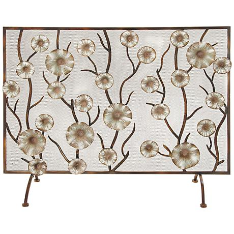 "Golden Blossoms 36"" High Aged Brass Fireplace Screen"