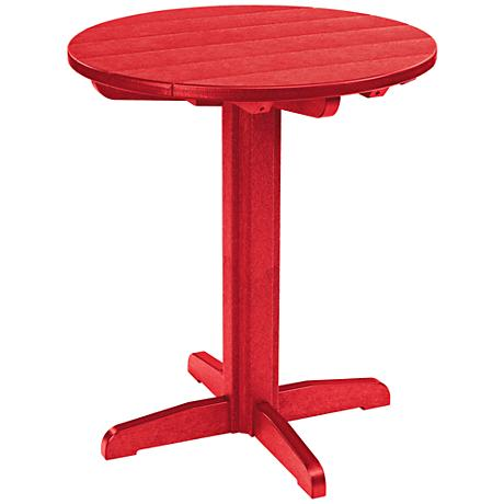 Generations Red Round Outdoor Pub Height Pedestal Table